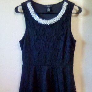 A line Dress in Black Lace Lined in Black